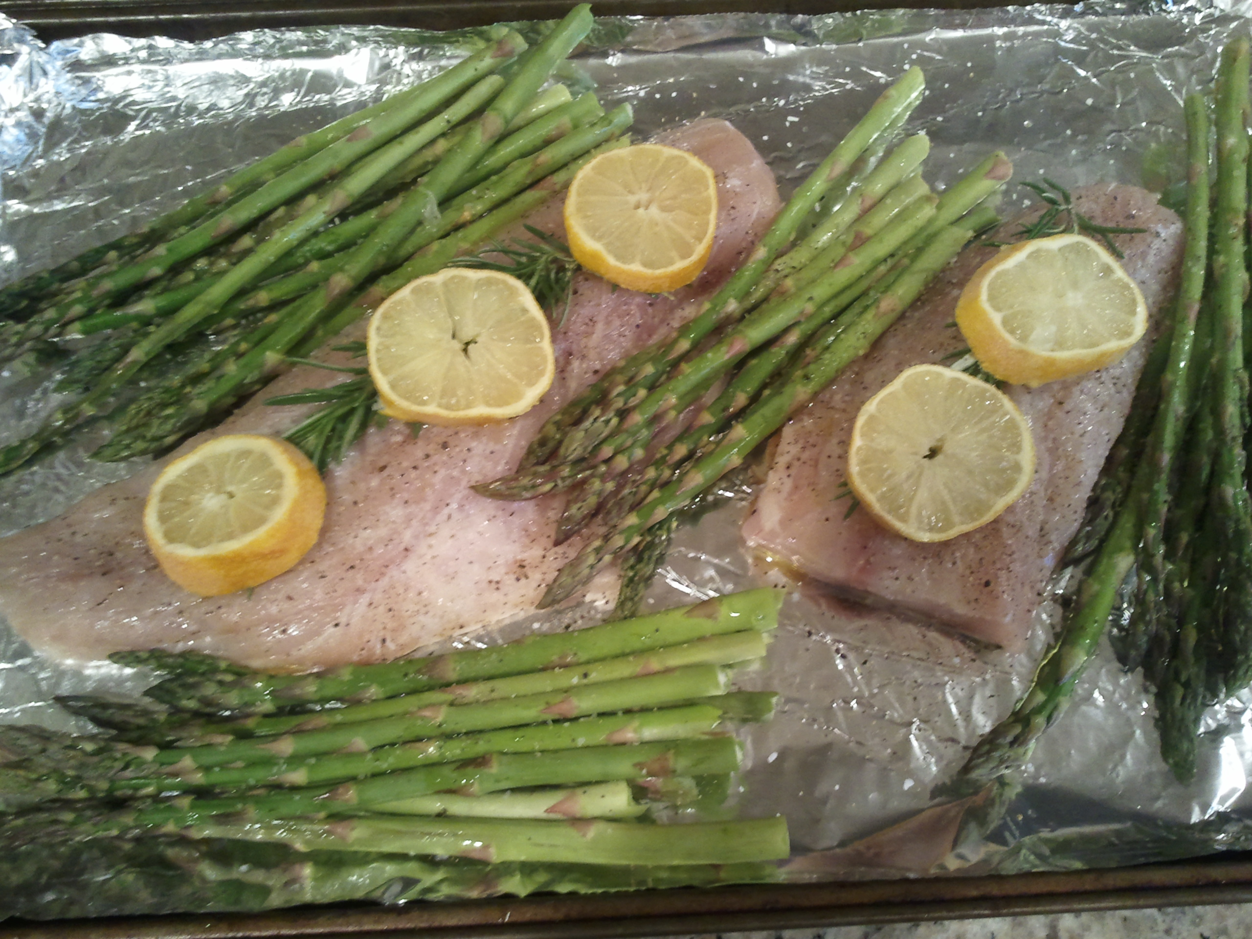 Rockfish Baked with Lemon and served with Herb Buttered Bruschetta ...