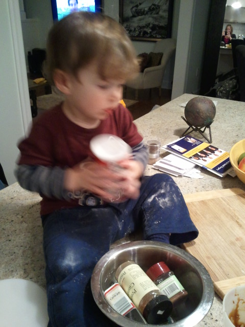 Ryder helping me bake cookies