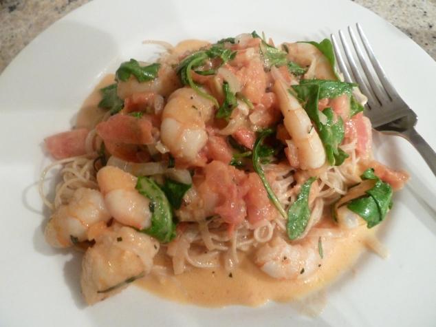 Shrimp, arugula
