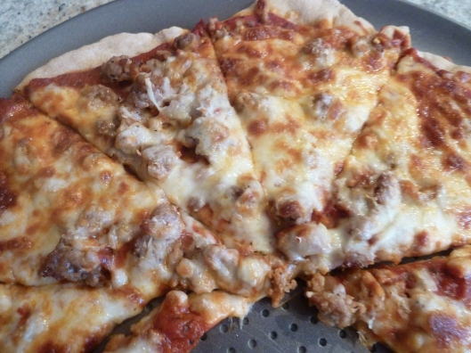 sausage and cheese pizza