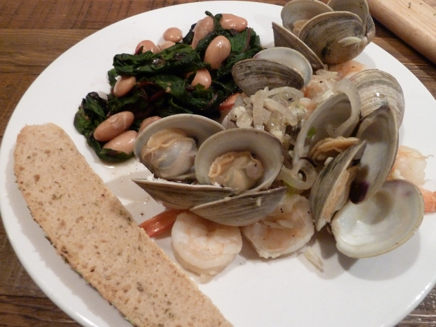 Clams, shrimp, swiss chard and rosemary/olive oil bread