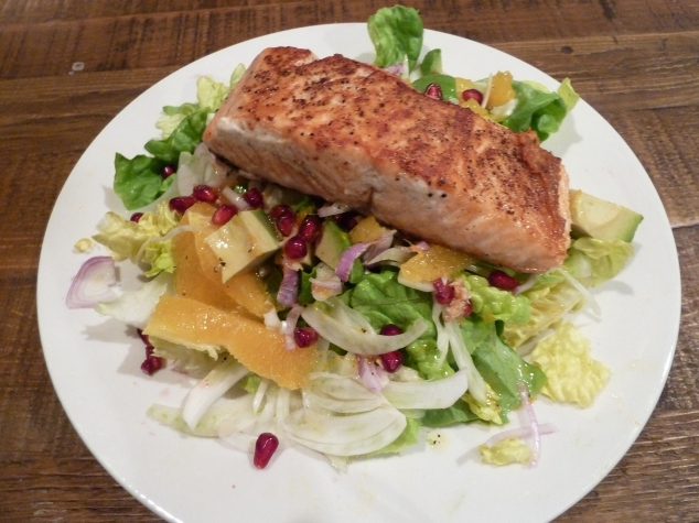 Salmon on Fennel and Orange salad