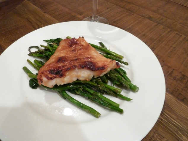 Miso Glazed Grouper with asparagus