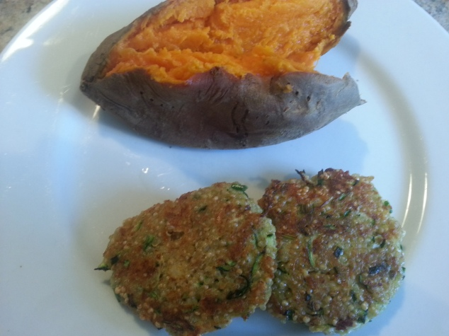 Crispy Quinoa Sliders and a sweet potato