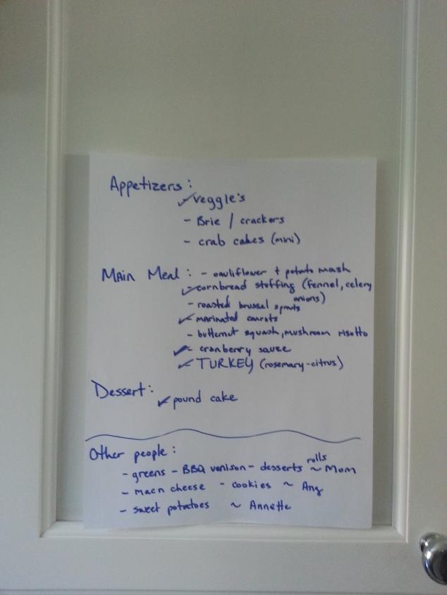my menu checklist