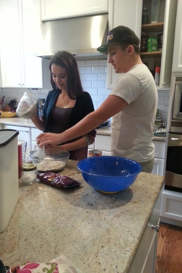 Devin and Rachel making cookies