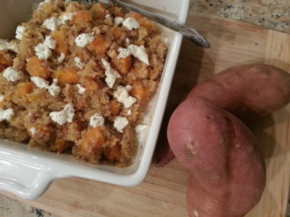 Sweet Potato, Walnut and Goat Cheese Quinoa Salad