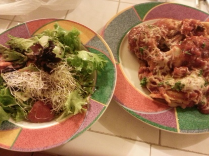 veggie lasagna and salad