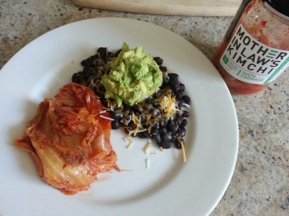 Lunch: black beans, avocado, cheese and kimchi