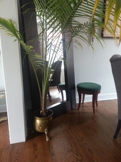 brass pot and small bench
