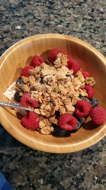 yogurt, fruit, granola bowl