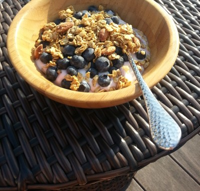blueberries, granola and yogurt on the deck