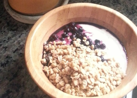 half blueberries, half granola