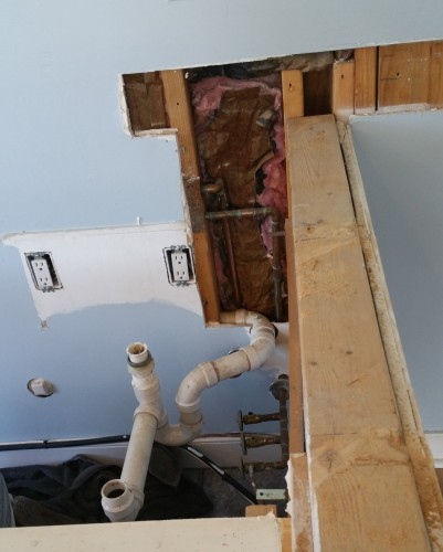 bar sink being removed