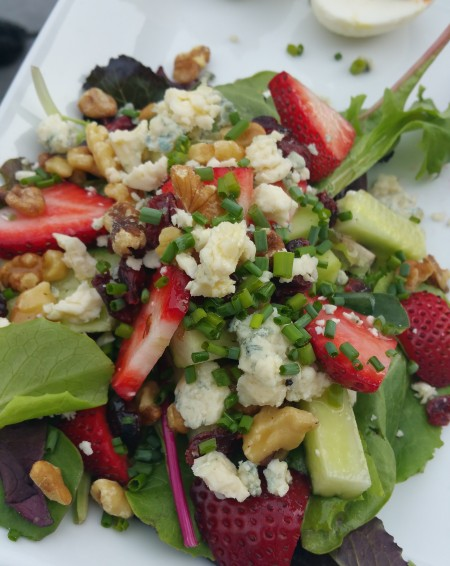 strawberries, cucumber, blue cheese and walnuts salad