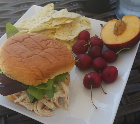 homemade chicken salad, cherries and nectarine