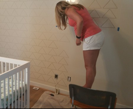 Me stenciling at 30 weeks preggo
